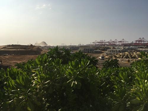 図1:スリランカ・コロンボ港における中国の港湾開発光景(撮影:筆者)