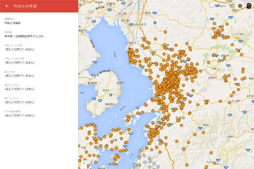 「Youth action for Kumamoto」がグーグルマップ上に作成した避難所マップ。開設中はオレンジ、閉鎖はグレーで示される