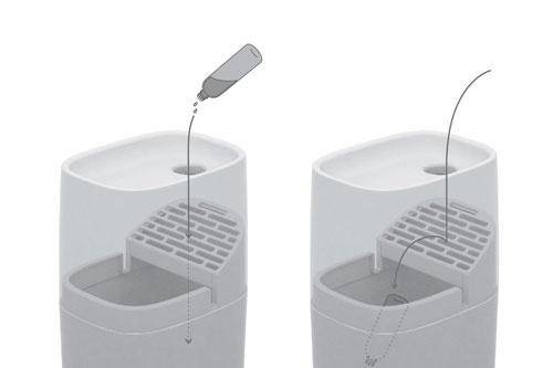 液体とボトルが区別できるゴミ箱。ルートセールス担当者が抱える一番の悩みである、ボトルと液体とが混ざる問題を解決した案。液体は別タンクに