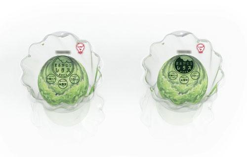 クリーンルーム栽培のレタスとして、小さく栄養を凝縮させたものを提案し、パッケージをデザイン。レタスは触感に応じて2種類を用意した