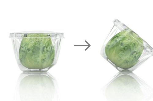 容器底には、かじった様子をイメージした切欠きが。切欠きを底面にすることでななめに陳列でき、店頭でのアピールがしやすくなる