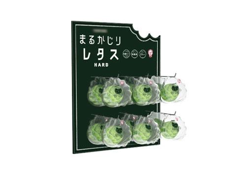クリーンルームで栽培されたレタスの新しい姿をデザイン。商品のサイズ、パッケージから店頭の陳列イメージまで提案した。常温で長期保存できるため、カップラーメンの横やキオスクなど、さまざまなチャネルで販売できるようになるのではと考えた