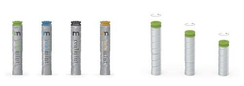 可変型パッケージ。筒状のパッケージをひねることでサイズを変化させられ、食べた数に応じてどんどんとパッケージを小さくできる。小さくすることで隙間をなくし、からからという音をなくす工夫でもある。縦型のパッケージは、陳列時にライバル商品と比較して目立つ