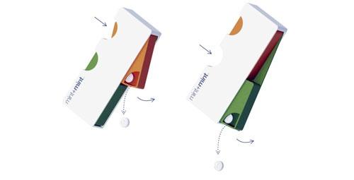 2種類のフレーバーが1つのパッケージに分かれて入っており、オレンジとグリーンミントを一緒に食べるとグレープフルーツ風味に、別々のミントを一緒に食べると刺激が強めになるなど、フレーバーの変化を楽しめる提案