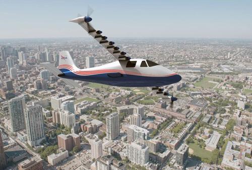 NASAの新しい実験航空機「X-57」(画像:NASA)。主翼に片側7基の電動モーターを装備している。