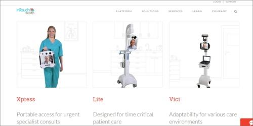 InTouch Healthが開発する遠隔診療用ロボットの一部(キャプチャ画像は同社のWebサイトより)