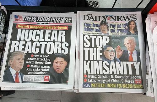 米各紙は最近の北朝鮮のミサイル実験とトランプ大統領の対応について大きく紙面を割いている(写真=Sipa USA/amanaimages)