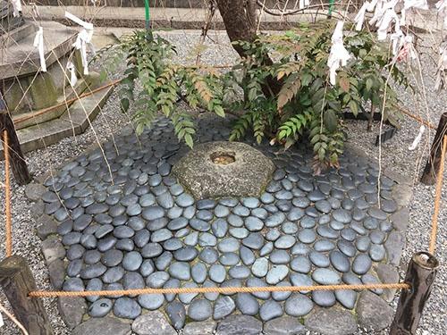 京都の中心を示す「へそ石」