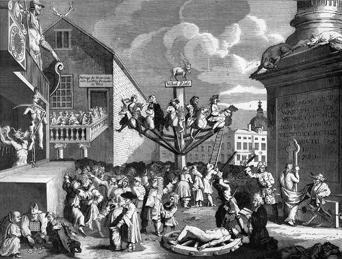 ウィリアム・ホガースによって製作された風刺版画(1809年)。南海泡沫事件の顛末(てんまつ)を風刺している。中心に立つモニュメント周辺には、バブル狂乱に踊るがごとく多くの人がごった返している。宗教批判的な観点や煽られた人々の虚構にごった返す様、モニュメントには南海泡沫事件の慰霊碑があるなど、小ネタが散りばめられている(写真:Culture Club / Getty Images)