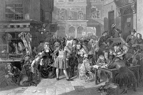 エドワード・マシュー・ウォードによる絵画(19世紀半ば)。象徴的な貴族や富裕層がごった返す様子だけだなく、絵の左側には一般市民や南海泡沫事件によって没落してしまった人物も描かれている。熱気ある狂乱の中で、掛け違えたボタンによって多くの人が虚構のバブルで破産していく前夜とも言える構図だ(写真:アフロ)