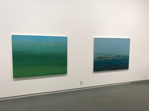 橋本トモコ《明日の幻想-江戸川》(2点とも、2016年)展示風景
