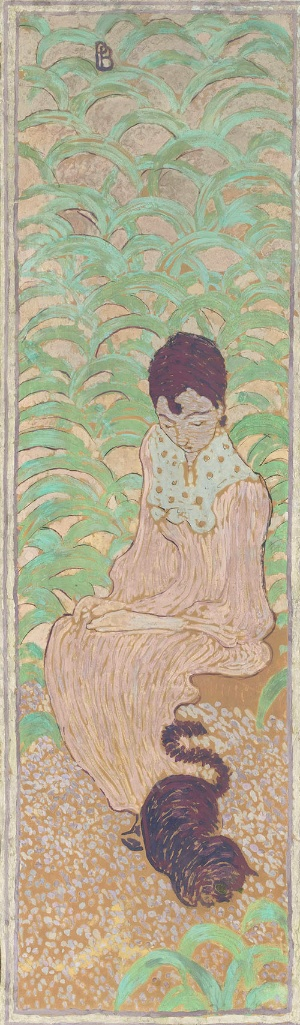 ピエール・ボナール 《庭の女性たち 猫と座る女性》(1890〜91年、デトランプ、カンヴァスに貼り付けた紙、装飾パネル &copy; RMN-Grand Palais (musée d'Orsay) / Hervé Lewandowski / distributed by AMF)<br /> 猫と女性をテーマにした作品。4枚組のうちの1枚。日本美術の影響を受けており、当初は屏風を想定して描いたが、パネルに仕立てたという(無断転載禁止)