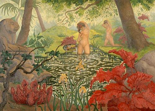 ポール・ランソン《水浴》(1906年頃、油彩、カンヴァス &copy; RMN-Grand Palais (musée d'Orsay) / Hervé Lewandowski / distributed by AMF )<br />ランソンはリモージュの装飾美術学校に通った後、パリに出てナビ派の一員になったという。幻想的で謎めいた世界を描いている(無断転載禁止)