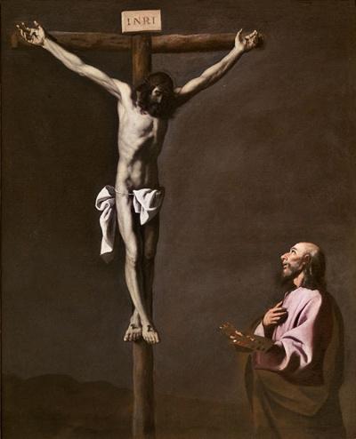 フランシスコ・デ・スルバラン《磔刑のキリストと画家》(1650年頃 マドリード、プラド美術館蔵 © Museo Nacional del Prado)