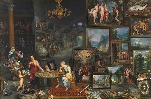 ヤン・ブリューゲル(父)、ヘンドリク・ファン・バーレン、ヘラルト・セーヘルスら《視覚と嗅覚》(1620年頃 マドリード、プラド美術館蔵 © Museo Nacional del Prado)