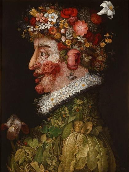ジュゼッペ・アルチンボルド《春》(1563年、油彩、板、マドリード、王立サン・フェルナンド美術アカデミー美術館蔵 © Museo de la Real Academia de Bellas Artes de San Fernando. Madrid)