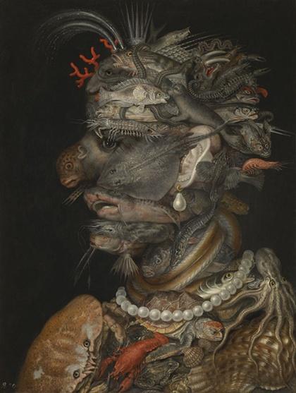 ジュゼッペ・アルチンボルド《水》(1566年、油彩、板、ウィーン美術史美術館蔵 © KHM-Museumsverband)