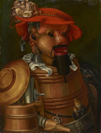 ジュゼッペ・アルチンボルド《ソムリエ(ウェイター)》(1574年、油彩、カンヴァス、大阪新美術館建設準備室蔵)