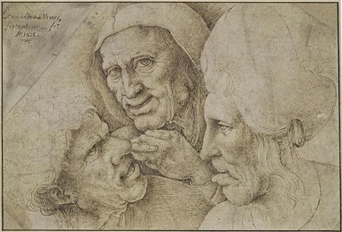 レオナルド・ダ・ヴィンチにもとづく(?)《3つのグロテスクな頭部(売春の場面)》(1550年頃(?)、ペン、茶色のインク、紙 、ロンドン、大英博物館蔵 ©The Trustees of the British Museum)