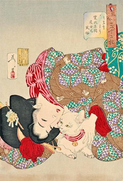 月岡芳年《風俗三十二相 うるささう 寛政年間 処女之風俗》(明治21年[1888年])<br />美女の頭が下を向いた構図は実に気が利いており、猫を心底かわいがる感情がにじみ出ている