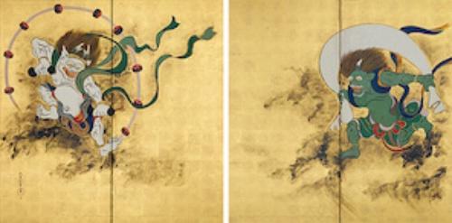 酒井抱一《風神雷神図屏風》(江戸時代、出光美術館蔵)