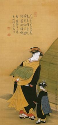 酒井抱一《遊女と禿図》(1787年[天明7年]、出光美術館蔵)