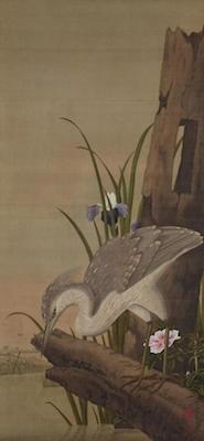 小田野直武《鷺図》<br/>一幅、江戸時代、18世紀、歸空庵蔵<br />展示期間:12/14~1/9(無断転載禁止)<br/>後期に展示される優品