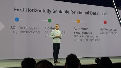 写真3●Spannerの特徴を語るGoogleのUrs Holzle上級副社長