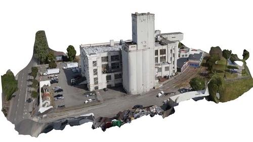 図●3D Roboticsのソフトウエアを使って生成した建物の3D(3次元)画像