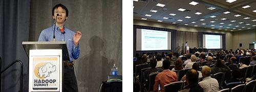 (左)Hadoop Summit 2014で講演する油井誠氏<br />(右)Hadoop Summit 2014で油井氏の講演に集まった聴衆