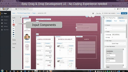 IQPの開発ツールでデータ可視化のアプリケーションを作成している画面