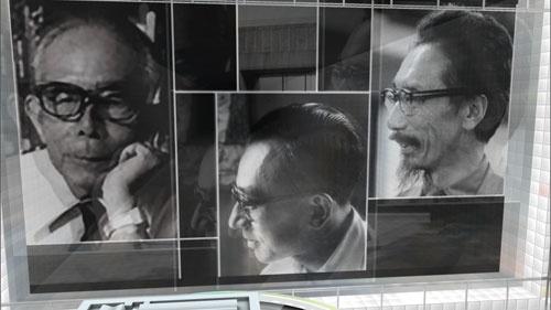 コルビュジエの日本弟子3人。左から前川國男、坂倉準三、吉阪隆正。コルビュジエから送られてきた図面を元に西洋美術館を建てた