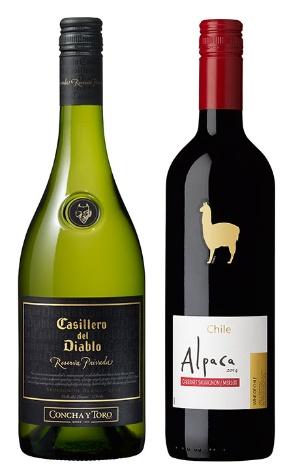 メルシャンは中高価格帯の「カッシェロ・デル・ディアブロ」シリーズ(左)を投入。アサヒビールは動物のイラストが特色の「サンタ・ヘレナ アルパカ」ブランド(右)を拡販する。