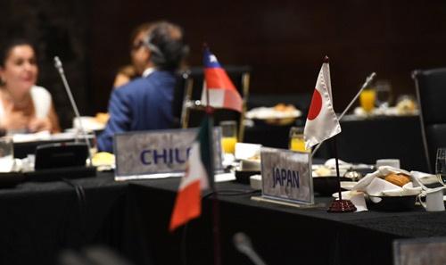 5月21日にベトナム・ハワイで開催された、米国を除く環太平洋経済連携協定(TPP)の参加11カ国による閣僚会合(代表撮影/ロイター/アフロ)