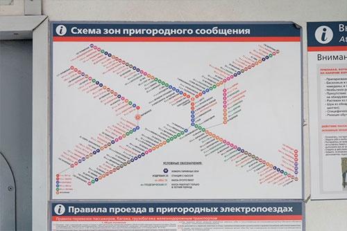 ノヴォシビルスク近郊の路線図。料金体系はゾーン運賃制になっているようだ