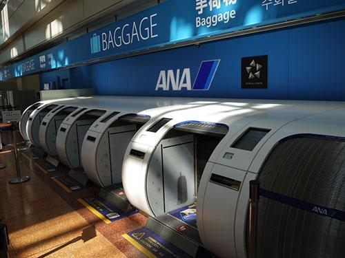 ANAが羽田空港に導入した自動手荷物預け機