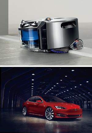 <b>英ダイソンのロボット掃除機は自ら進路を決め、電池で駆動する(上)。全自動運転が実用化されれば、ロボット掃除機とEVは要素技術がかなり重なる(下は米テスラ・モーターズの「モデルS」)</b>(写真提供=掃除機:ダイソン、EV:テスラ・モーターズ)