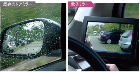 <b>既存のドアミラーでは、雨が降るとドアミラーの鏡面や窓ガラスに水滴が付いて視認 性が低下する。右写真は、仏ヴァレオの試作品の様子</b>