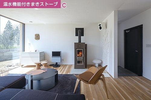 南面に床から天井まで大きな窓を備えたリビング。太陽熱などで温めた湯を土間パイプに回して暖房に活用する。奥の温水機能付きまきストーブでは、生じるエネルギーの3割を放熱に、7割を給湯に使う。キッチンとの間には、地元産の院内石を用いて蓄熱壁を設けた(写真=Shinkenchiku-sha)