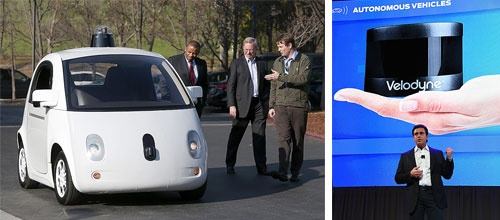 <b>米グーグルが試作した自動運転車。ルーフの上に米ベロダイン製のLiDARが搭載されている(左)。ベロダインのLiDARは年々、小型化と低コスト化が進んでいる(右)</b>(写真=左:Justin Sullivan/Getty Images、右:Ethan Miller/Getty Images)