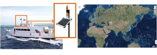 IHIはAIS(自動船舶識別装置)の信号を衛星で捉えて地図上に表示するサービスを開始(左、漁船は水色の点)。小型船向けの簡易AISも開発した。(右)。違法船の摘発に使える