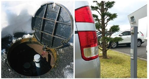 <b>日立システムズはマンホールにセンサーを取り付けて開閉状態や水位管理の把握に取り組む(左)。センサーメーカーのオプテックスは駐車の有無を把握する目的でLPWAを活用している(右)</b>