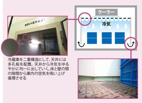 二重構造で温度を一定に<br /><span>●大青工業の冷蔵庫の仕組み</span>