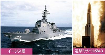海上自衛隊のイージス艦もSPY-1レーダー(船橋部の六角形)を備えている(写真=左:朝雲新聞/時事通信フォト、右:Alamy/ アフロ)