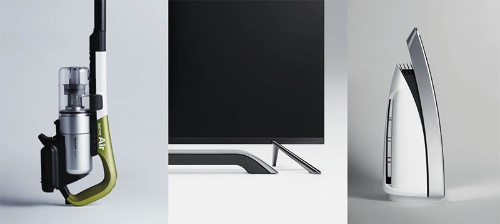 既に「Be Original.」を象徴する商品がいくつか出てきている。UX(ユーザーエクペリエンス)とフォルムのそれぞれ視点でのデザインが融合したもので、写真左はコードレス掃除機「RACTIVE Air(EC-A1R)」。無駄をそぎ落とした重量1.5kgという軽さを生かし、掃除の楽しさを体験してもらえるようにした。写真中は液晶テレビ「LCD-SU870」でテレビ本体の重量を感じさせないスタンドをデザイン。写真右は空気清浄機「FP-CH70」を横から見たところで、インターフェースには水の波紋をモチーフにした光の表現を施し、空気の清浄感を感じてもらえるようにした。鴻海精密工業とのコラボレーションによる新しい部品調達によって実現した商品も少なくない。