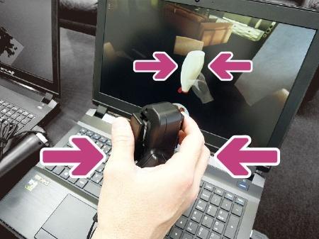 アルプス電気が開発したハプティックトリガー。マヨネーズを押し出す感覚を手元で再現できる