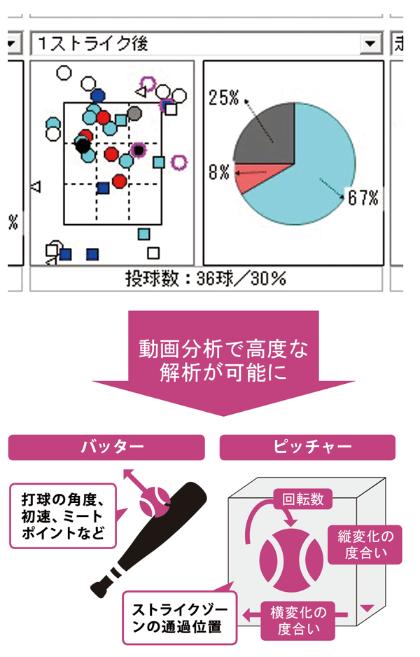 投球の結果だけでなく、ボールの軌道解析も可能に<br />●野球のプレーデータ分析の例