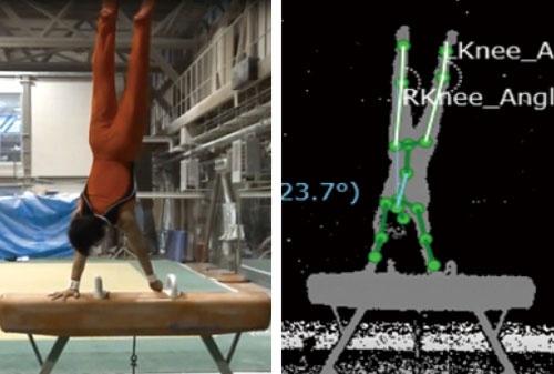 体操選手の体の動きを認識する<br />●富士通が開発した3Dレーザーセンサーの映像