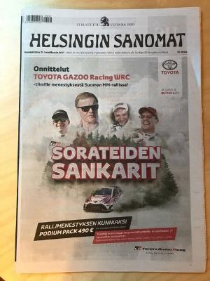 翌日、フィンランドで最大の発行部数を誇るという新聞「Helsingin Sanomat」に掲載されたTOYOTA GAZOO Racingの一面広告(写真:藤野太一)