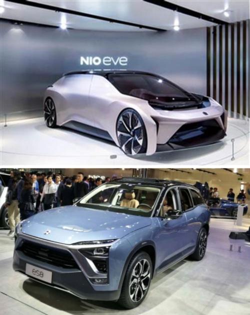 蔚来汽車のスマートカー(写真上)と量産モデルES8